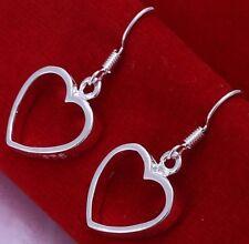 Drop Dangle Hook Uk Seller Womens E49 New Pair Silver Plated Heart Earrings Love