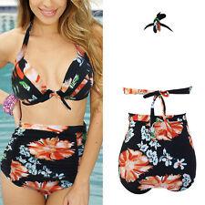 Black Floral Hawaiian Padded Halter Top High Waist Bikini Bathing Suit M-3XL US