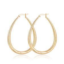 18k Gold Plated 40mm Oval Hoop Earrings Bridal Wedding Christmas Gift + Bag