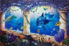 Undersea Tile Backsplash Wilkie Ceramic Dolphin Sea Life Art Mural POV-JWA041