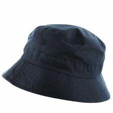 MENS BLUE 100% COTTON BUSH HAT Tough military navy summer bucket cap sun hat