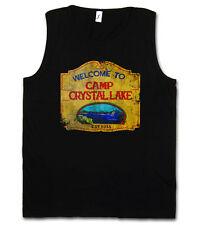 CAMP CRYSTAL LAKE VINTAGE SIGN TANK TOP T-SHIRT SHIRT - Friday the 13th Jason