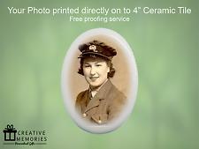 "Personalised Ceramic Memorial Photo Oval Tile 4"" - Gravestone Memorial Tile"