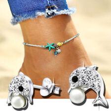 Fußkettchen Fußkette SEESTERN + Ohrringe Zirkonia Perle Delfin 925 echt Silber