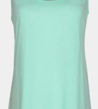 Aruba Blue / Grey Marle Super Soft Viscose Blend Lace trim Rib Tank Sleep Top