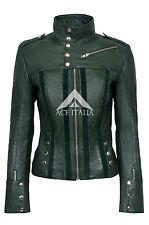 Ladies Green Slim Fit Soft Suede Biker  Genuine Lamb Leather Jacket 4520