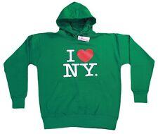 I Love NY New York Hoodie Screen Print Heart Sweatshirt Green