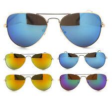 Police Color Mirror Lens Metal Wire Rim Tear Drop Aviator Motorcycle Sunglasses