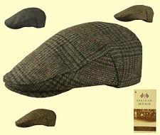 Failsworth inglese Tweed FLAT CAP-Moon in tessuto check Verde Blu Grigio 56 - 63cm