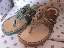 Earth Wander Calf Leather Thong Flip Flop Sandals 6 Sizes 2 colors U Choose NIB!
