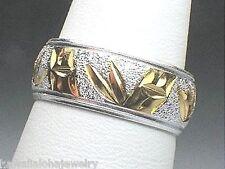 8MM HEAVY 2-TONE 925 SILVER YELLOW GOLD PLATED HAWAIIAN TROPICAL BAMBOO RING #2