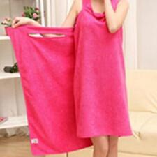 Wearable Bath Microfiber Towel Robe Fast Dry Women Bathrobe Spa Wrap Dress D