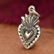 Silver Sacred Heart Charm Pendant Necklace Catholic Faith Medieval Symbol 1076