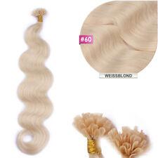 #60 Weissblond Keratin Bonding GEWELLT Hair Extensions 100% Remy Echthaar 1g