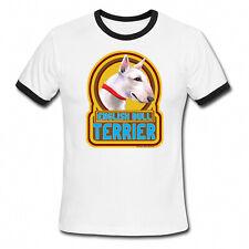 Mens/Ladies Ringer T-Shirt ENGLISH BULL TERRIER Dog Retro Style Gift Birthday