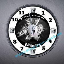 """Mega Wanduhr """" Poker Time by......."""" Top Größe bis 40cm und Widmung"""