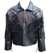 Herren Leder Braun & SchwarzFranse Native American Western Stil Cowboy Jacke DE