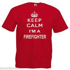 Keep Calm Bombero Bombero Adultos Camiseta 12 Colores para Hombre Talla S - 3XL