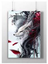 WOLF POSTER WILD BLOOD DRAGON JAPANESE FANTASY ART PRINT A3 A4 SIZE