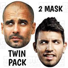 Sergio Aguero + Pep Guardiola Face Mask Life-size or A3 Man World Cup City