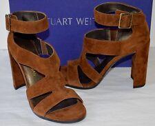 New $435 Stuart Weitzman HiRoller Hi Roller Walnut Brown Suede Sandal/Heel