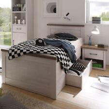 Jugendbett Luca mit Nachtkommode Pinie weiß mit Bettschubkasten
