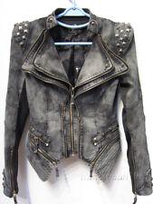 New Womens Punk Spike Studded Shoulder Vintage Denim Jacket Jeans coat Size S-XL