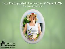 """Personalizzata in CERAMICA Memorial Foto Ovale TILE 4"""" - Tomba Memoriale Tile"""