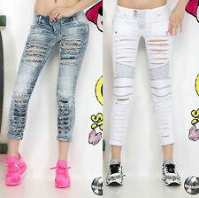 Damen Jeans löcher Sexy Röhrenjeans Hüftjeans Risse Hüfthose Fetzenjeans XS-M