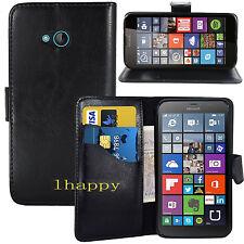 BLACK WALLET CARD SLOT stand GEL CASE FOR Microsoft Nokia lumia 640 UK seller
