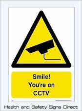 ¡ Sonríe! Tu en Cámara Cctv signos & pegatinas Grandes Tamaños. de espesor de materiales! (CS25)