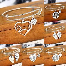 Silver Plated Pendant Heart Charm Bracelet Women Men Bangle Jewelry Family Love