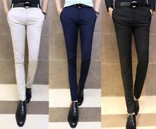 korean Thin Mens Skinny Fit Tapered Flat Front Casual Dress formal pencil Pants