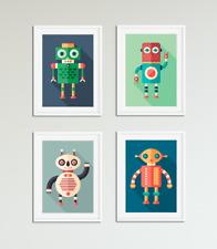 Robot Prints for Boys Bedroom, Nursery, Playroom, Robot Pictures, Kids Wall Art