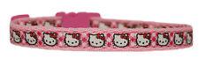 "Handmade fabric Pink check Hello Kitty  small dog /puppy collar 8-12"" 1/2"" S"