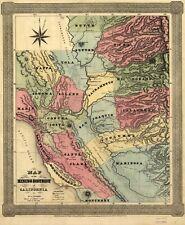 POSTER Print antique Amérique villes villes États Carte du District Minier California
