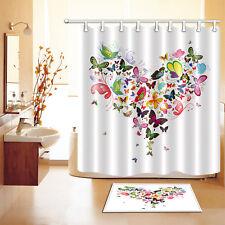 Abstract Butterfly Heart Shower Curtain Liner Bathroom Mat Set Waterproof Fabric