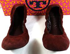 Tory Burch Eddie Bordeaux Suede Ballet Flats shoes 5-11