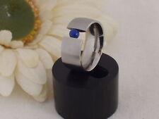 Edelstahl Ring Spannring Lapiz Lapis Lazuli blau Damen Edelstein breiter Neuer