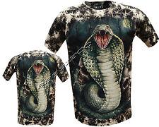 Nuevo Cobra Serpiente Reptil Calaveras Brillan En Oscuridad Tatuaje Goth Tye Dye Camiseta M-Xxl
