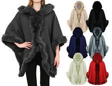 Women's Jacket Faux Fur Poncho Cape Celeb Ladies Trim Hooded Lush Wrap Coat 8-16