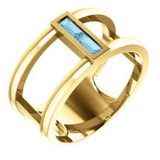 Genuine Aquamarine Baguette Negative Space Ring In 14K Yellow Gold