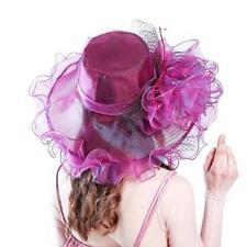 Summer Sun Hats For Women Elegant Vintage Hat Wide Large Brim With Big Flower
