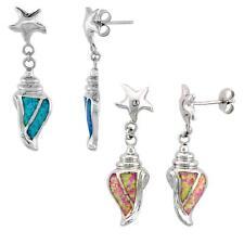 Sterling Silver Opal Conch Shell Dangle Earrings