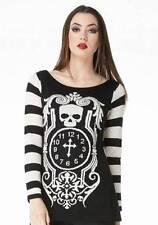 Women's Gothic Clock Skull 100% Viscose Material Striped Sweater - Jawbreaker