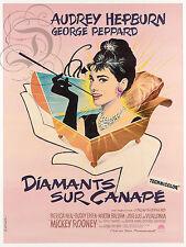 REPRO AFFICHE DIAMANTS SUR CANAPE HEPBURN PEPPARD 1961 PANNEAU MURAL EN BOIS HDF