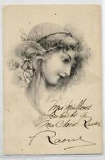 M. M. VIENNE Donnina con Rose tra i capelli PC Circa 1900 FRANCE