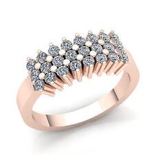 Genuine 3ct Round Cut Diamond Men's 3Row Bridal Wedding Band Ring 14K Gold