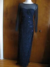 Ralph Lauren women navy sequinsparked floral lace evening dress