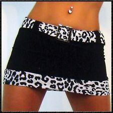 schwarzer Mini Rock mit weissem Leopard Gürtel Animal Print SM-Design gogo dance